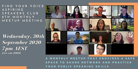 FIND YOUR VOICE - Aspiring Speakers CLUB  8th Monthly Meetup tickets
