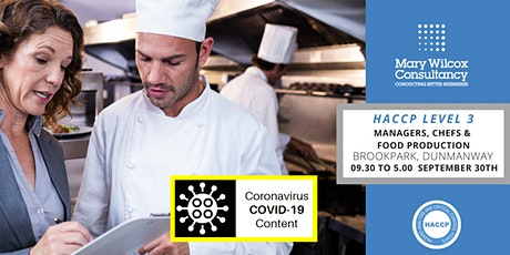 HACCP Certification Level  3 with Mary Wilcox Consultancy tickets