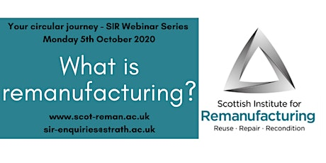 What is Remanufacturing? SIR Webinar Series tickets