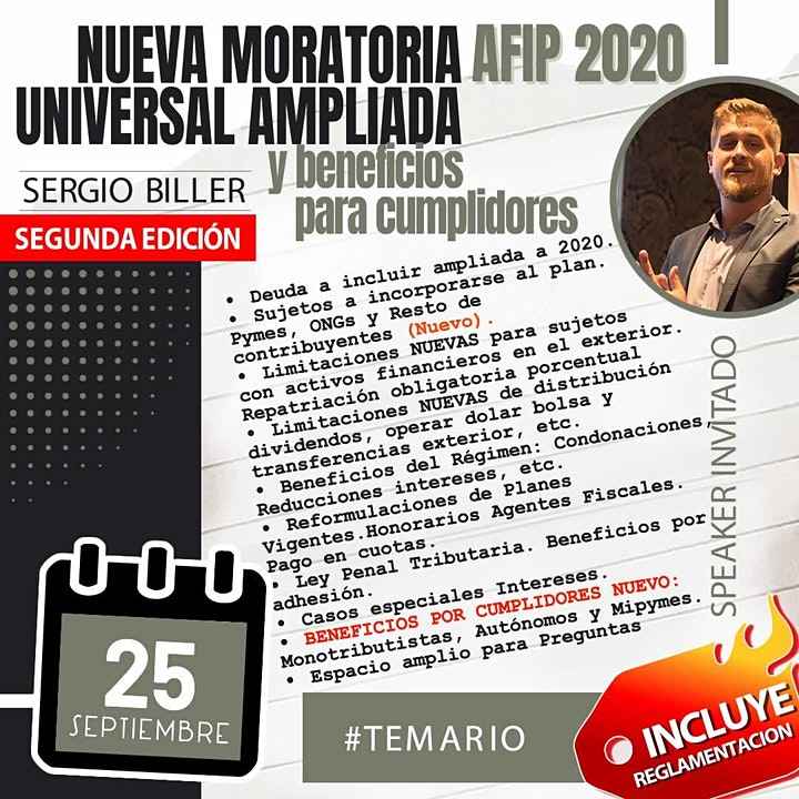 Imagen de 2da edición MORATORIA UNIVERSAL AMPLIADA AFIP 2020 y Beneficios para Cump..