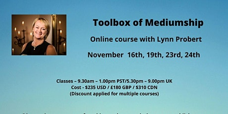 Toolbox of Mediumship ONLINE with Lynn Probert, tutor  from AFC in England tickets