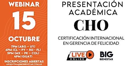 Presentación Académica - CHO Américas 16° Edición - Online Live entradas