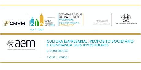 """""""CULTURA EMPRESARIAL, PROPÓSITO SOCIETÁRIO E CONFIANÇA DOS INVESTIDORES"""" bilhetes"""