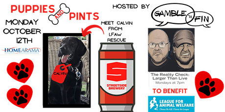 Puppies & Pints with Gamble 'N Fin, benefitting League for Animal Welfare tickets