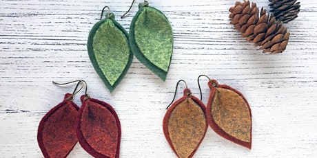 Felt Leaf Earrings Virtual Workshop tickets