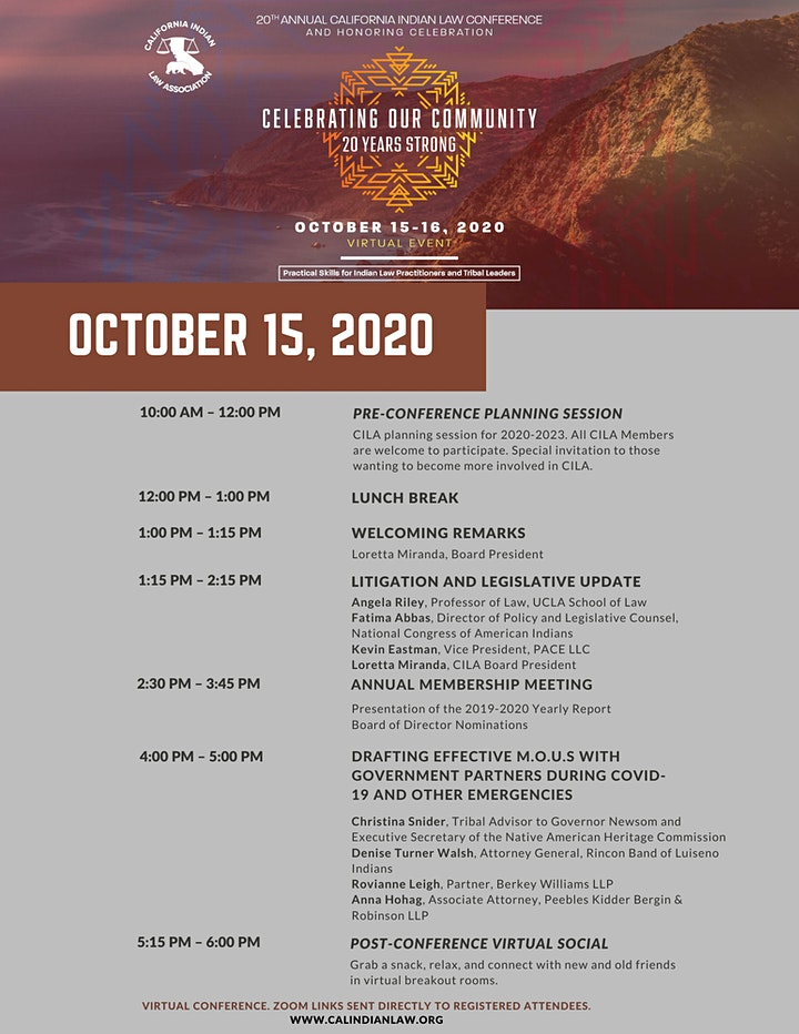 20th Annual California Indian Law Conference & Honoring image