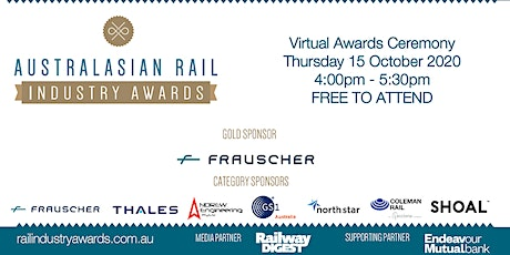 Australasian Rail Industry Virtual Award Presentations - 15 October 2020 tickets