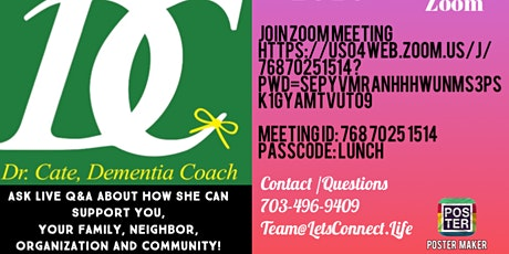Friday October 2nd 2020 @12 pm meet Dr. Cate Dementia Coach! tickets