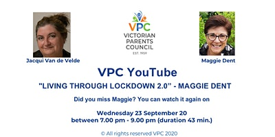 """VPC You Tube- """"LIVING THROUGH LOCKDOWN 2.0"""" – guest MAGGIE DENT"""