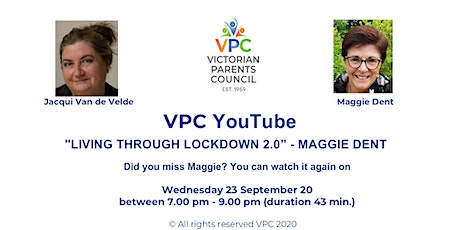 """VPC You Tube- """"LIVING THROUGH LOCKDOWN 2.0"""" - guest MAGGIE DENT tickets"""