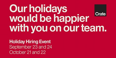 Crate and Barrel Holiday Hiring Event tickets
