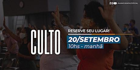 CULTO MANHÃ | Domingo 20/Setembro ingressos