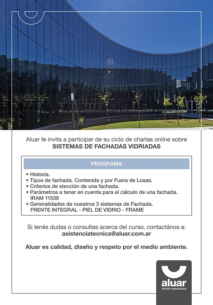 Imagen de CICLO DE CHARLAS ONLINE: SISTEMA DE FACHADAS VIDRIADAS