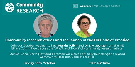 Community Research Ethics and the Launch of the CR Code of Practice tickets