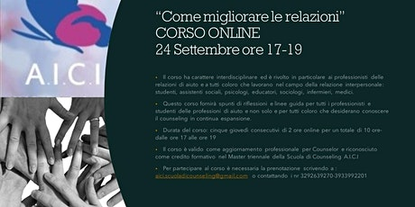 COME MIGLIORARE LE RELAZIONI - EVENTO ONLINE 24 SETTEMBRE ORE 17-19 biglietti