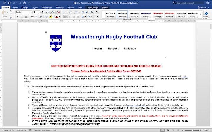 Musselburgh RFC Senior Training image