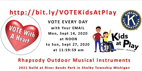 Vote for Kiwanis to win $25,000 for Rhapsody Outside Music Instruments  tickets