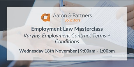 Employment Law Masterclass -Varying Employment Contract Terms + Conditions tickets