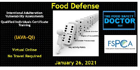 Online Food Defense  Qualified Individuals FSPCA (IAVA-QI) Training tickets