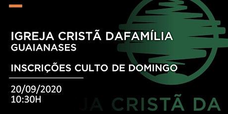 CULTO DE DOMINGO - 20/09/2020  - MANHÃ - 10:30H ingressos