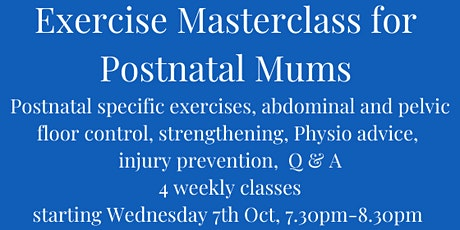 Exercise Masterclass for Postnatal Mums tickets