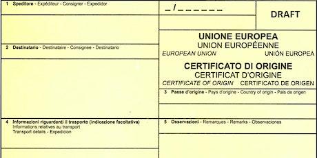 """Webinar """"Documentazione per l'estero - Certificati di origine: corretta com biglietti"""