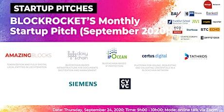 BLOCKROCKET's Monthly Startup Pitch: September 2020 tickets
