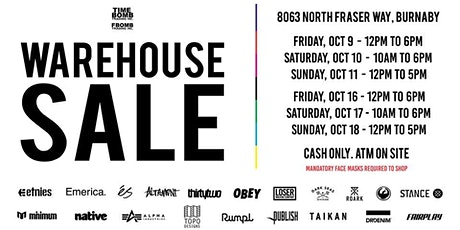 Timebomb & FBOMB Trading Inc Massive Warehouse Sale tickets