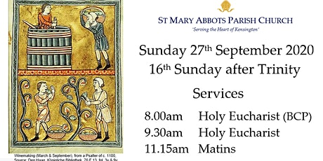 Sunday Services, St Mary Abbots Church on 27th September 2020 tickets