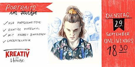 Portraits In Farbe - mit Buntstiften ZOOM Onlinekurs - Kreativ zu Hause Tickets