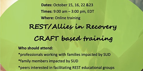 REST/Allies in Recovery CRAFT based training, Oct. 15,16, 22 & 23 tickets