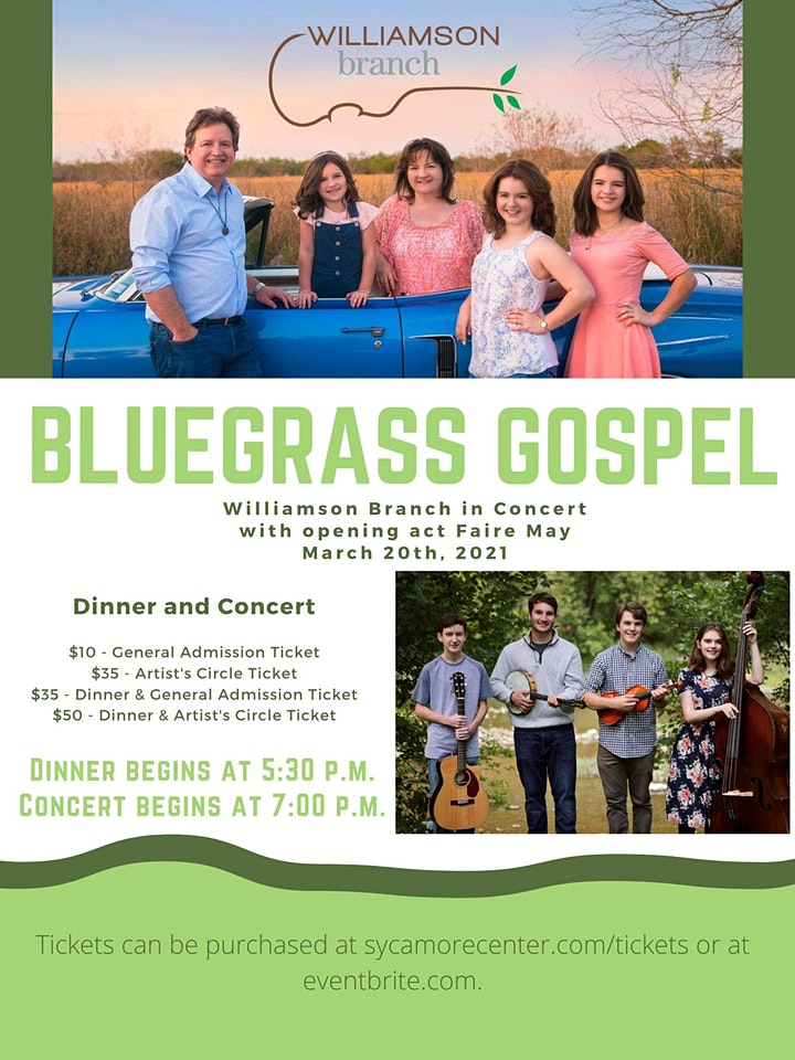 Williamson Branch & Faire May Gospel Bluegrass Dinner & Concert image