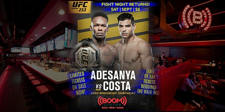 UNDEFEATED vs.UNDEFEATED UFC FIGHT NIGHT RETURNS TO ((BOOM)) UFC 253 LIVE! tickets
