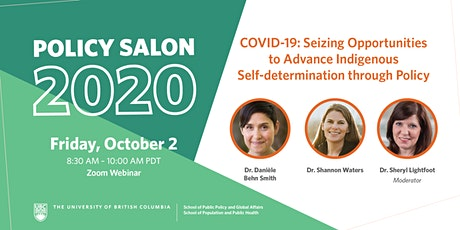 Policy Salon: COVID-19 & Advancing Indigenous Self-determination tickets