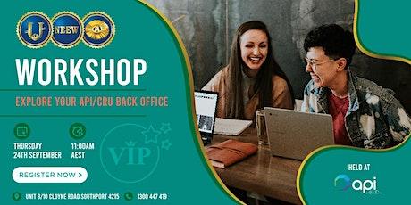 Explore your API/CRU Back Office WORKSHOP tickets