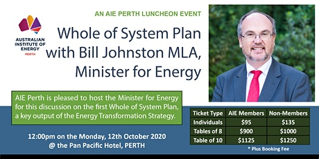 Whole of System Plan with Bill Johnston MLA, Minister for Energy tickets