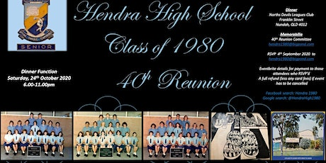 Hendra High School Class of 1980 40 year Reunion tickets