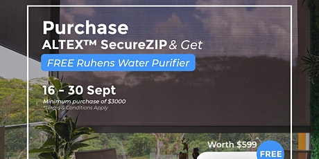 Get FREE Ruhens Water Purifier With Any Purchase of ALTEX™ SecureZIP tickets