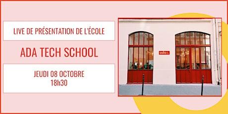 Présentation d'Ada Tech School - LIVE 08/10 billets