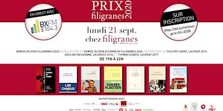 Prix Filigranes 2020 - Soirée de remise du Prix billets