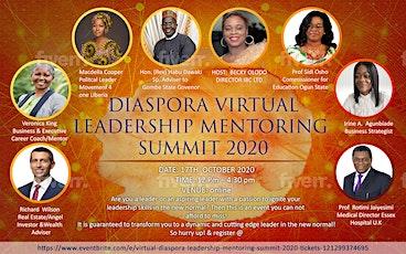 VIRTUAL DIASPORA LEADERSHIP MENTORING SUMMIT 2020 tickets