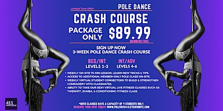 Adult Pole Crash Course  | Levels 1-6 | Tuesdays & Fridays tickets