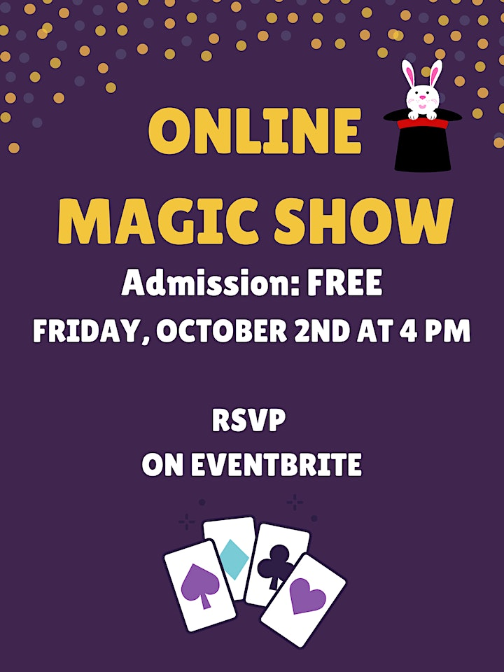 Free Online Magic Show for Children - Friday, October 2nd at 4:00 PM image