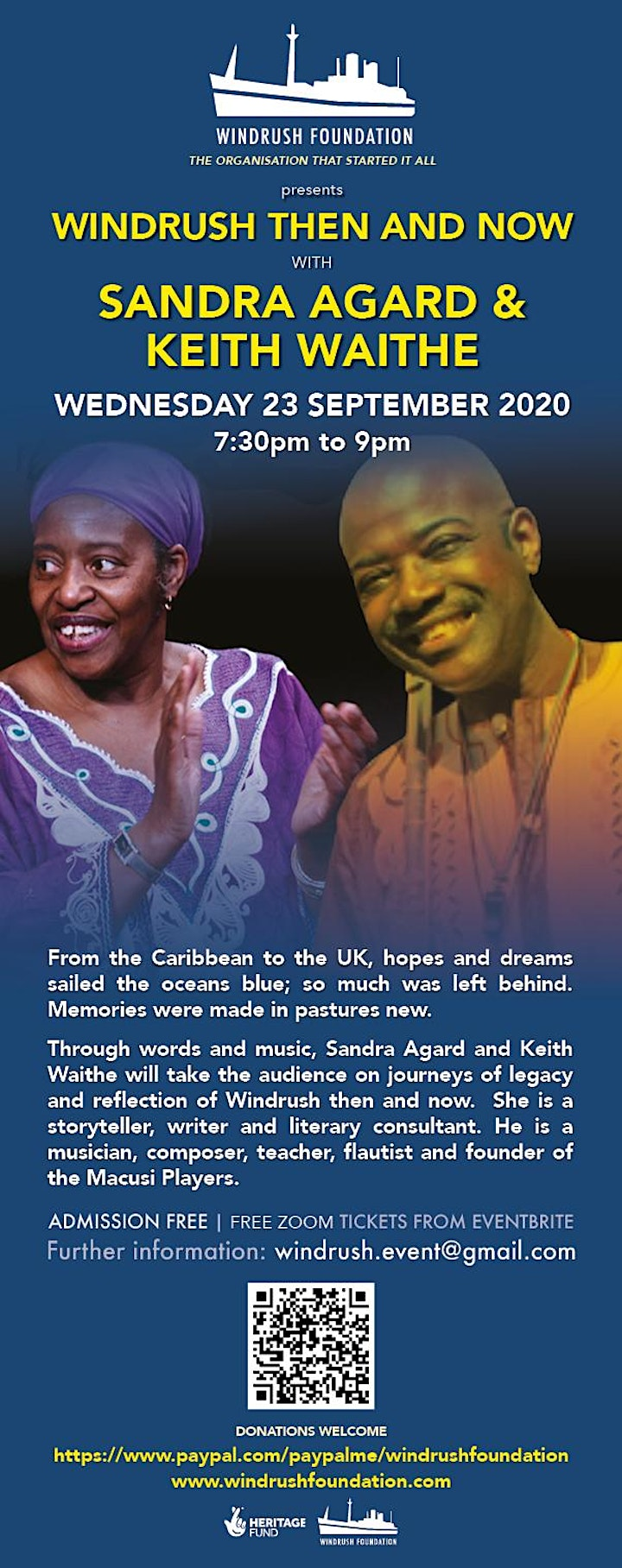 WINDRUSH THEN AND NOW WITH SANDRA AGARD & KEITH WAITHE image