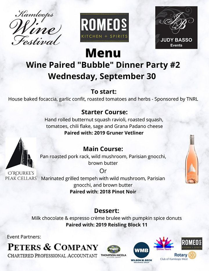 """Kam Wine Festival - #2  Wine Paired """"Bubble"""" Dinner Party - DINE IN OPTION image"""