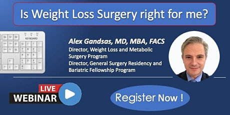 10/27/2020 Weight Loss Surgery  WEBINAR with Dr Gandsas tickets