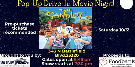 Pop-Up Drive-In Movie! The Sandlot, proceeds benefitting The Foodbank tickets