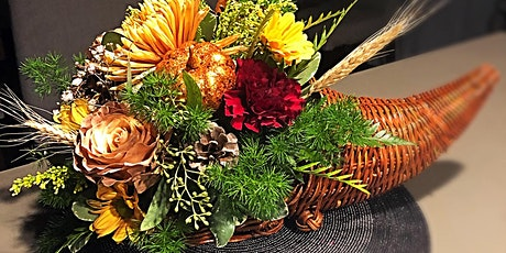 DIY Festive Cornucopia with fresh flowers and fall elements tickets