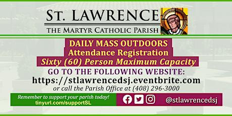 MONDAY, September 28 @ 8:30 AM DAILY Mass Registration tickets