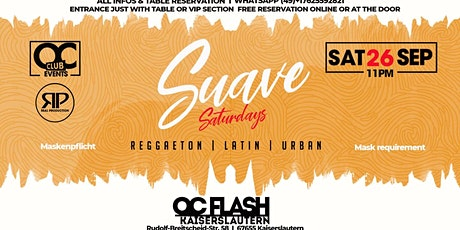 Oc Club Events present Suave Saturdays - 26th. September Tickets